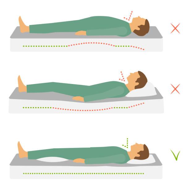 richtige Gesundheit Schlafposition Körper – Vektorgrafik