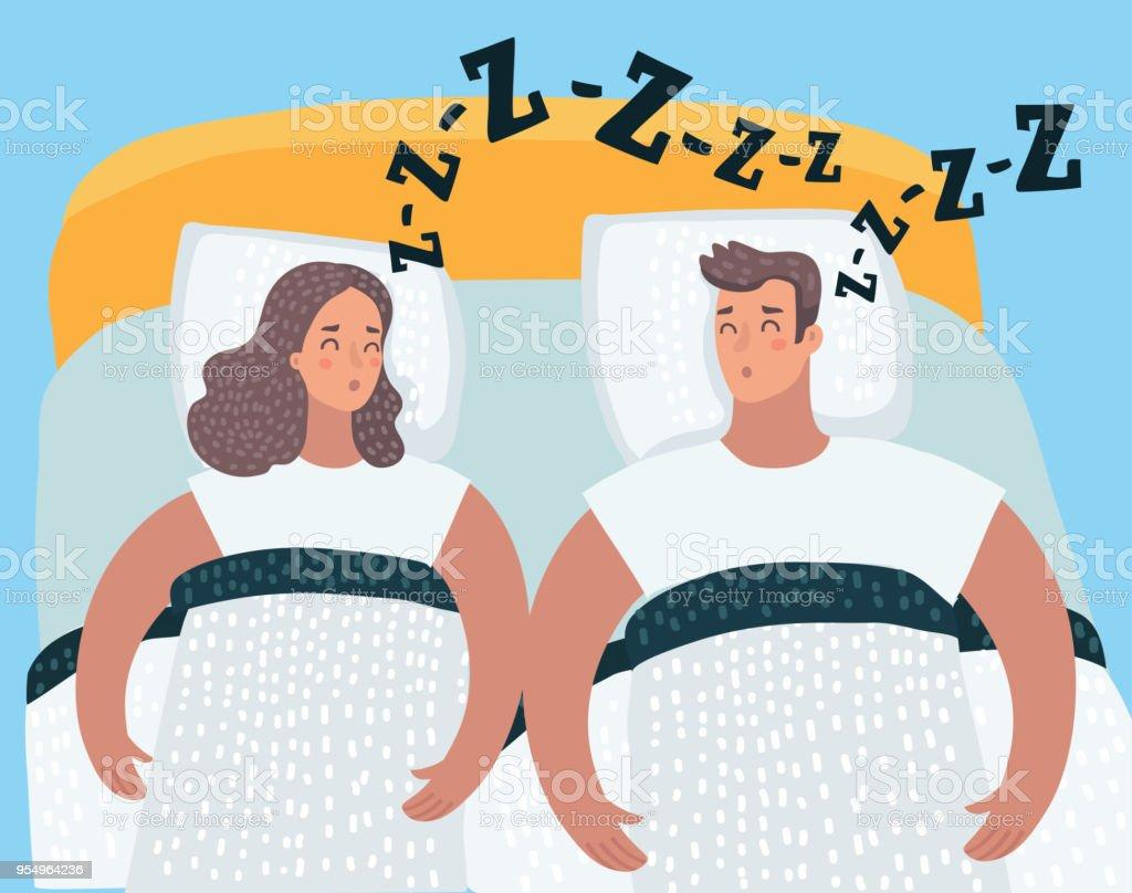 Paar Im Bett Karte Vektor Schlafen Stock Vektor Art Und Mehr Bilder