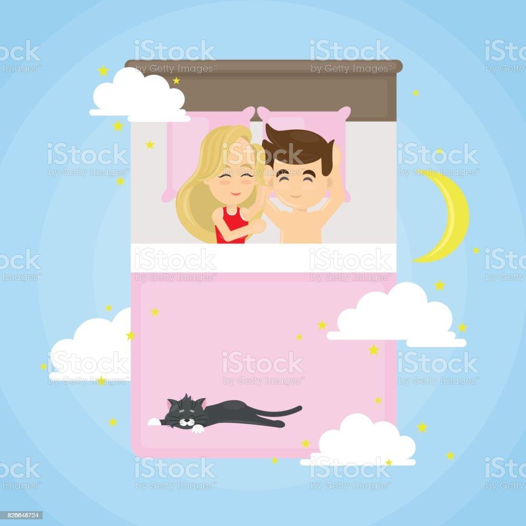 猫と寝ているカップル - 2人のベクターアート素材や画像を多数ご用意