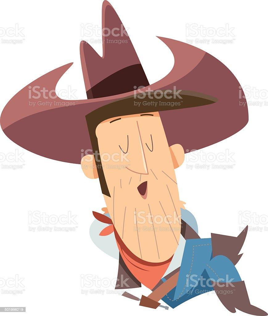 Sleeping Cowboy royalty-free stock vector art