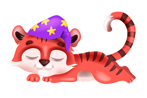 Sleeping cute baby tiger vector cartoon illustration, dreaming little cat in hat, Chinese New Year 2022 symbol.