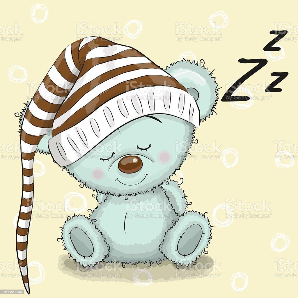 Sleeping cute Bear vector art illustration