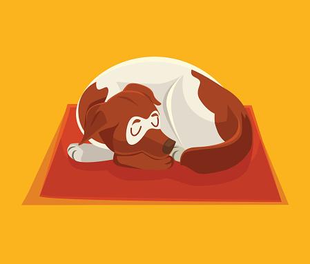 Sleeping dog. Vector flat cartoon illustration