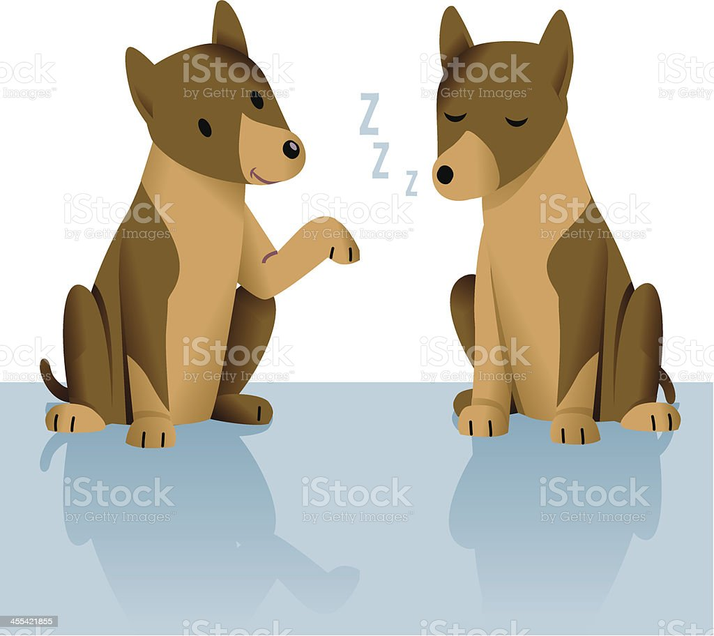 Sleeping Dog vector art illustration