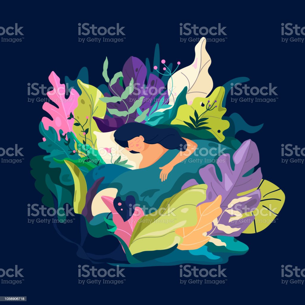 Sleeping Dreaming Girl Character Fantasy Leaves Background Template
