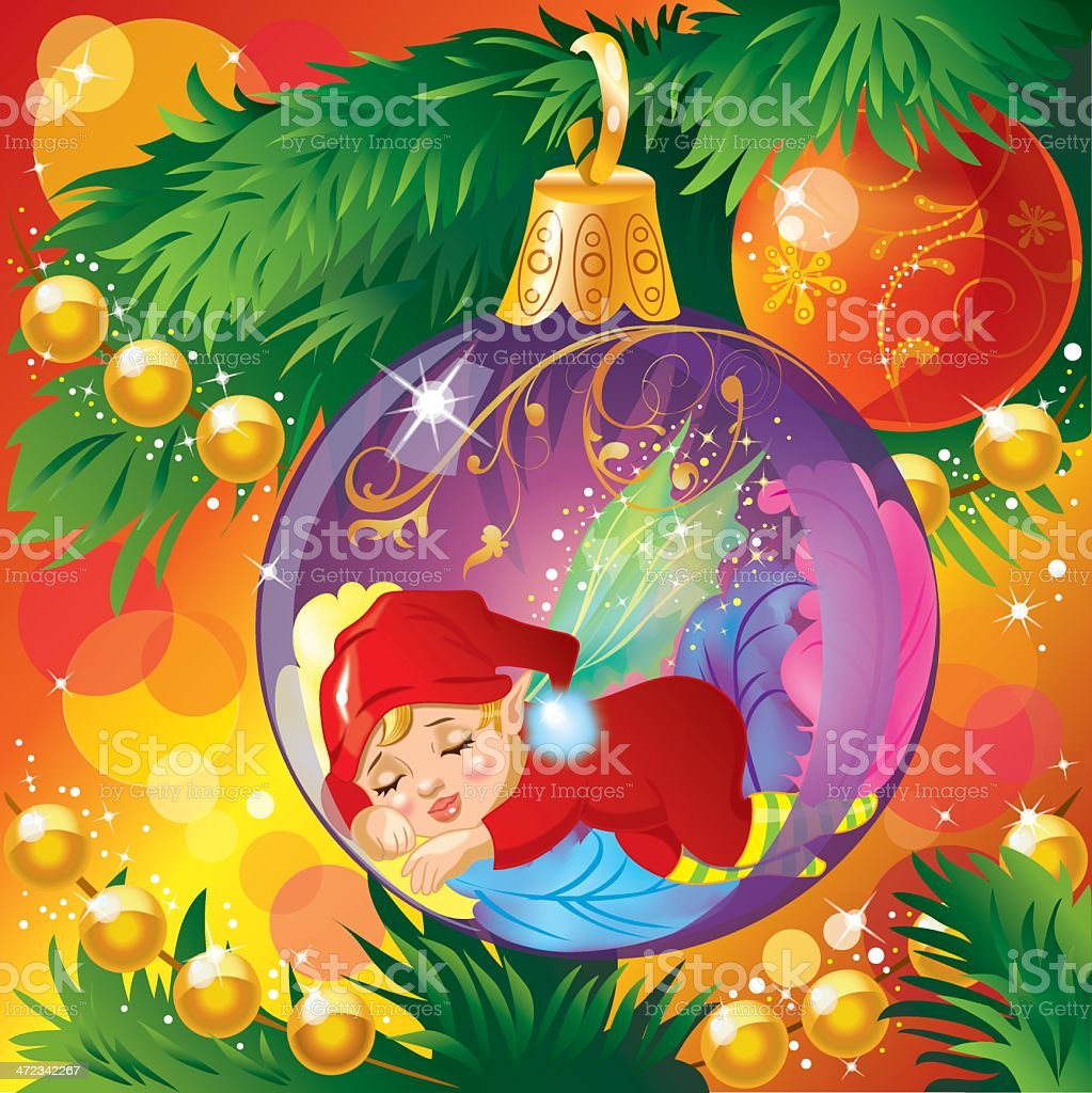sleeping elf stock vector art more images of arts culture and