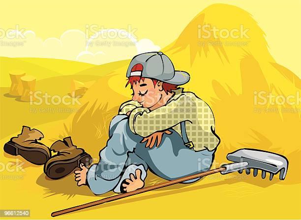 Sleeping Farm Boy-vektorgrafik och fler bilder på Avkoppling