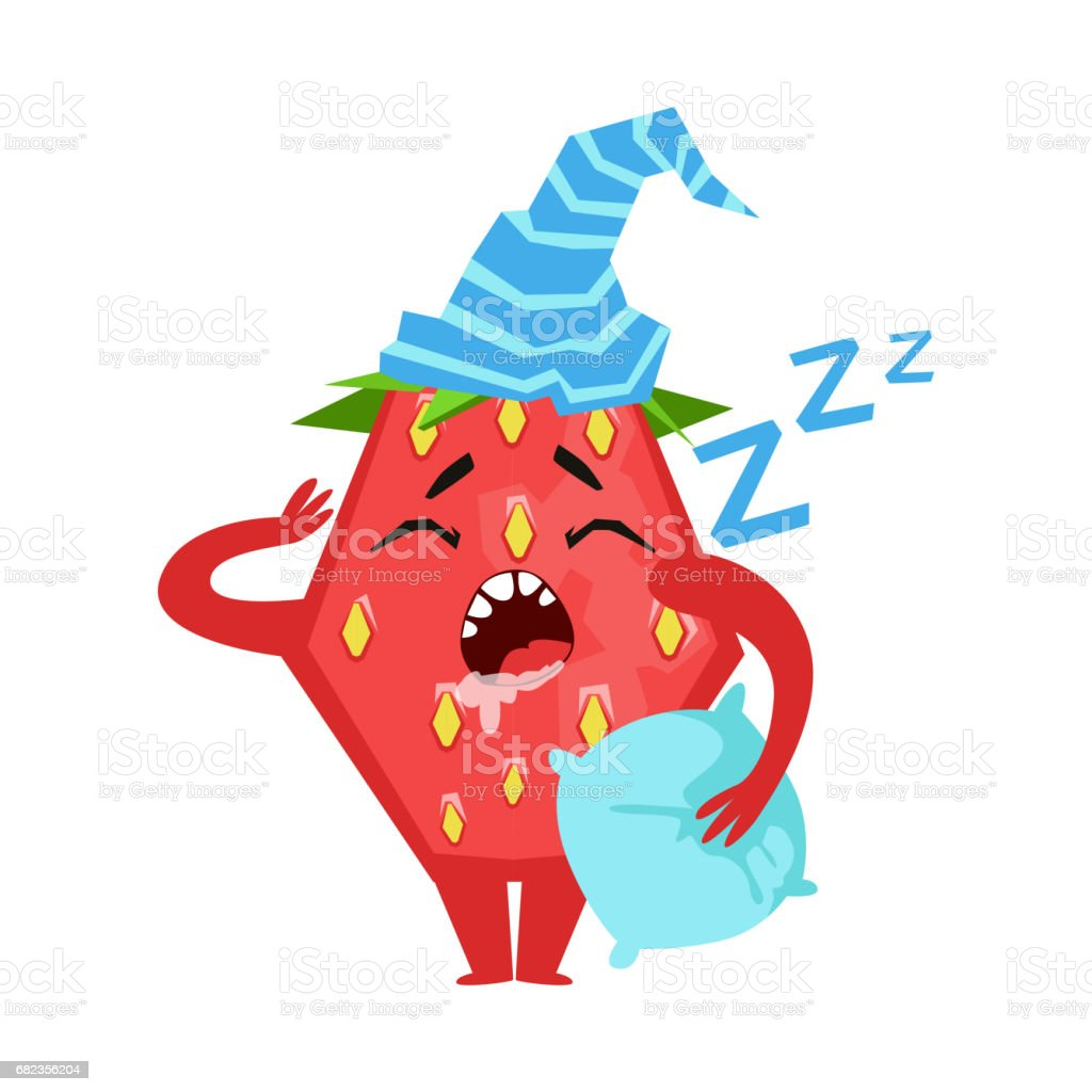 Sleeping funny strawberry. Cute cartoon emoji character vector Illustration sleeping funny strawberry cute cartoon emoji character vector illustration - stockowe grafiki wektorowe i więcej obrazów cukier royalty-free