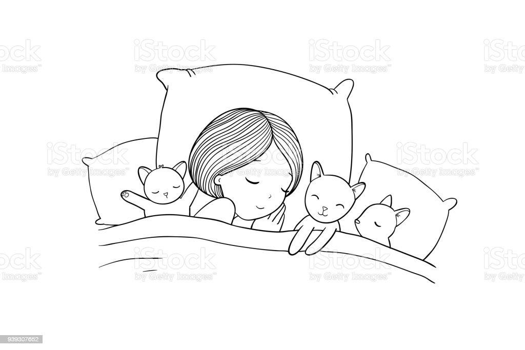 Mädchen Und Katze Im Bett Schlafen Gute Nacht Stock Vektor Art und ...