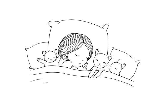 Sleeping Girl And Cat In Bed Good Night Vector Art Illustration