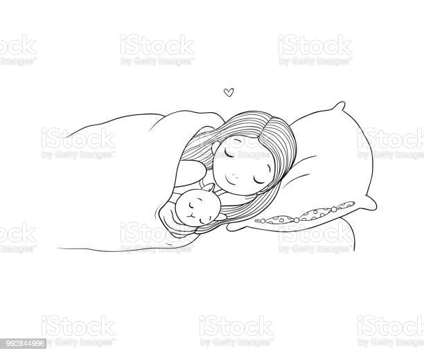 Sleeping girl and cat in bed good night vector id992844996?b=1&k=6&m=992844996&s=612x612&h=n3i wquw7pkvxk4p hlffsmjufoieuyeuvysper2clg=