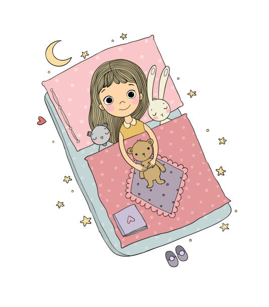 sleeping girl. baby in bed with toys. time to sleep. good night. - bedtime story stock illustrations