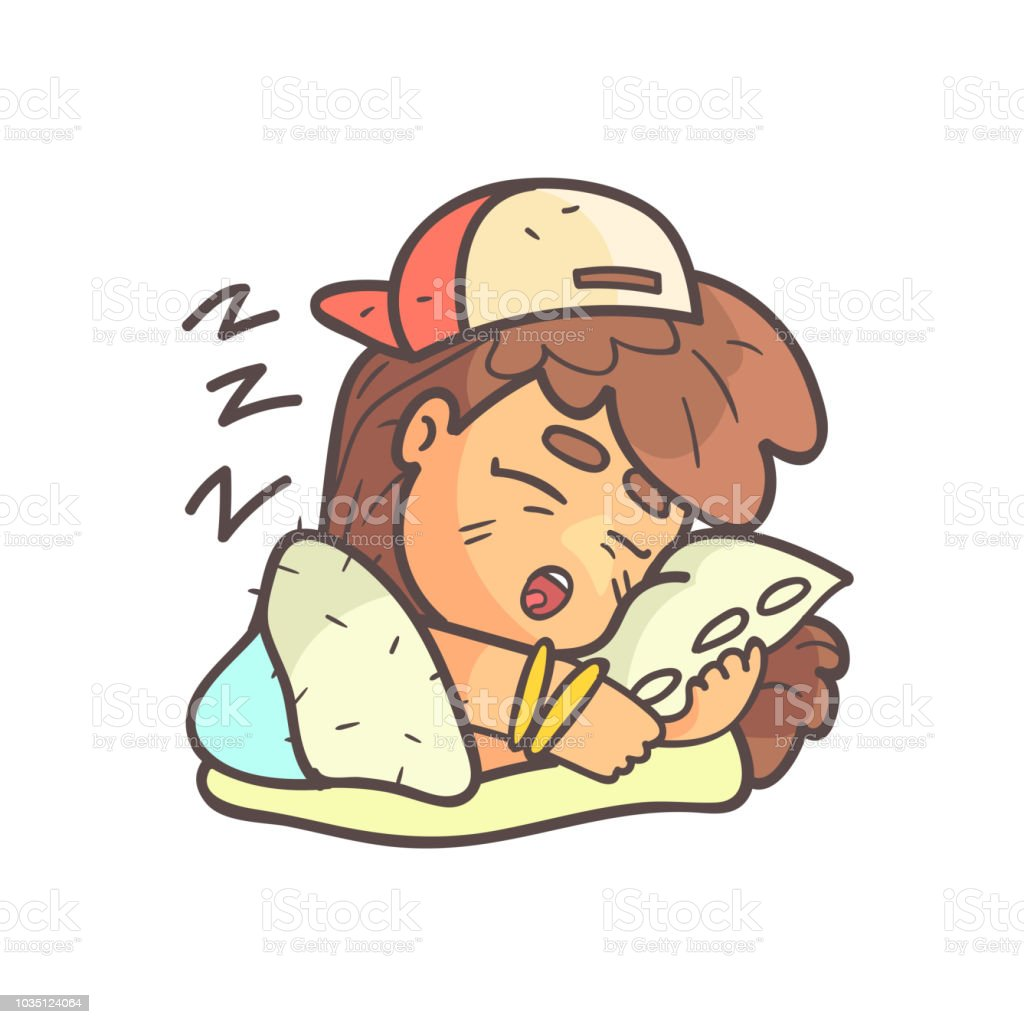 Sleeping Girl In Cap, Choker And Blue Top Hand Drawn Emoji Cool Outlined Portrait vector art illustration