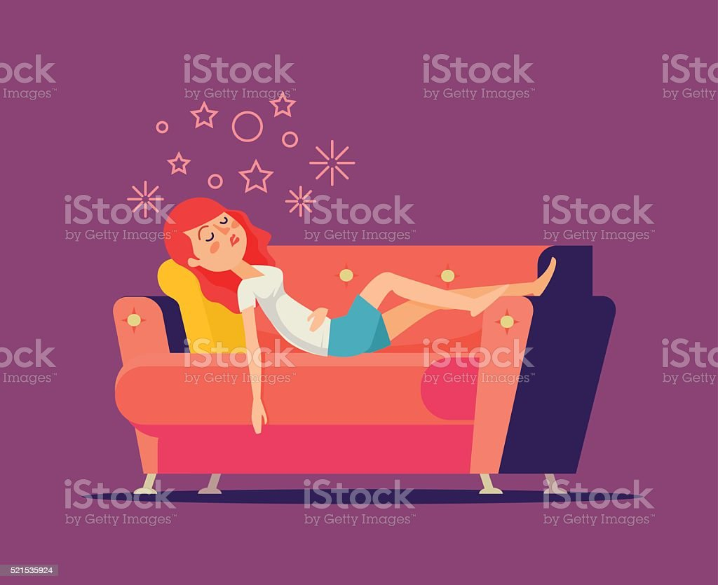 Sleeping girl on sofa. Vector flat cartoon illustration vector art illustration