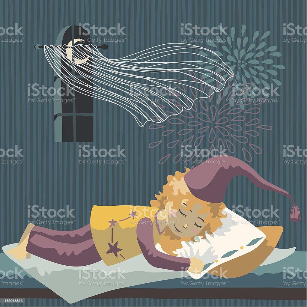 Sleeping Girl royalty-free stock vector art