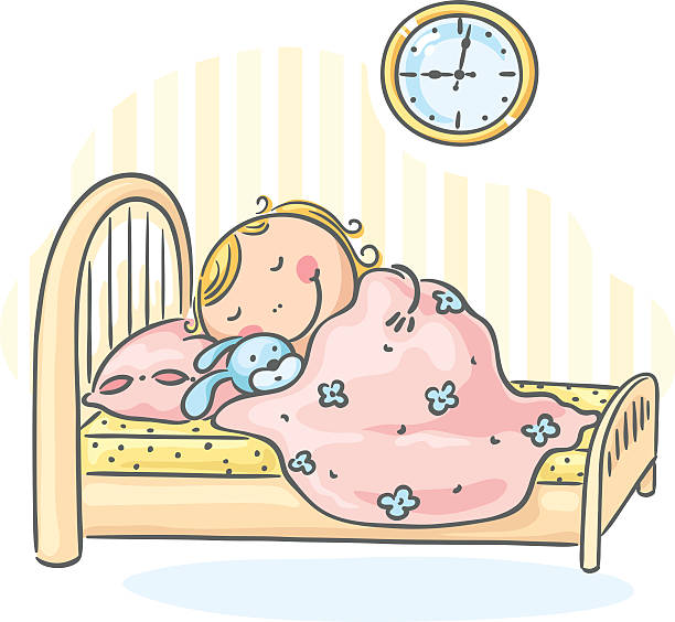 Sleeping girl vector art illustration
