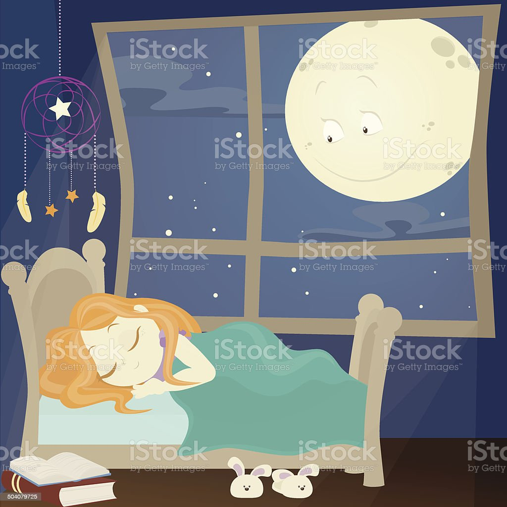 Sleeping girl royalty-free sleeping girl stock vector art & more images of bed