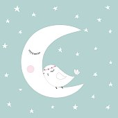 Sleeping half moon white cute bird blue night sky stars kids illustration room decoration