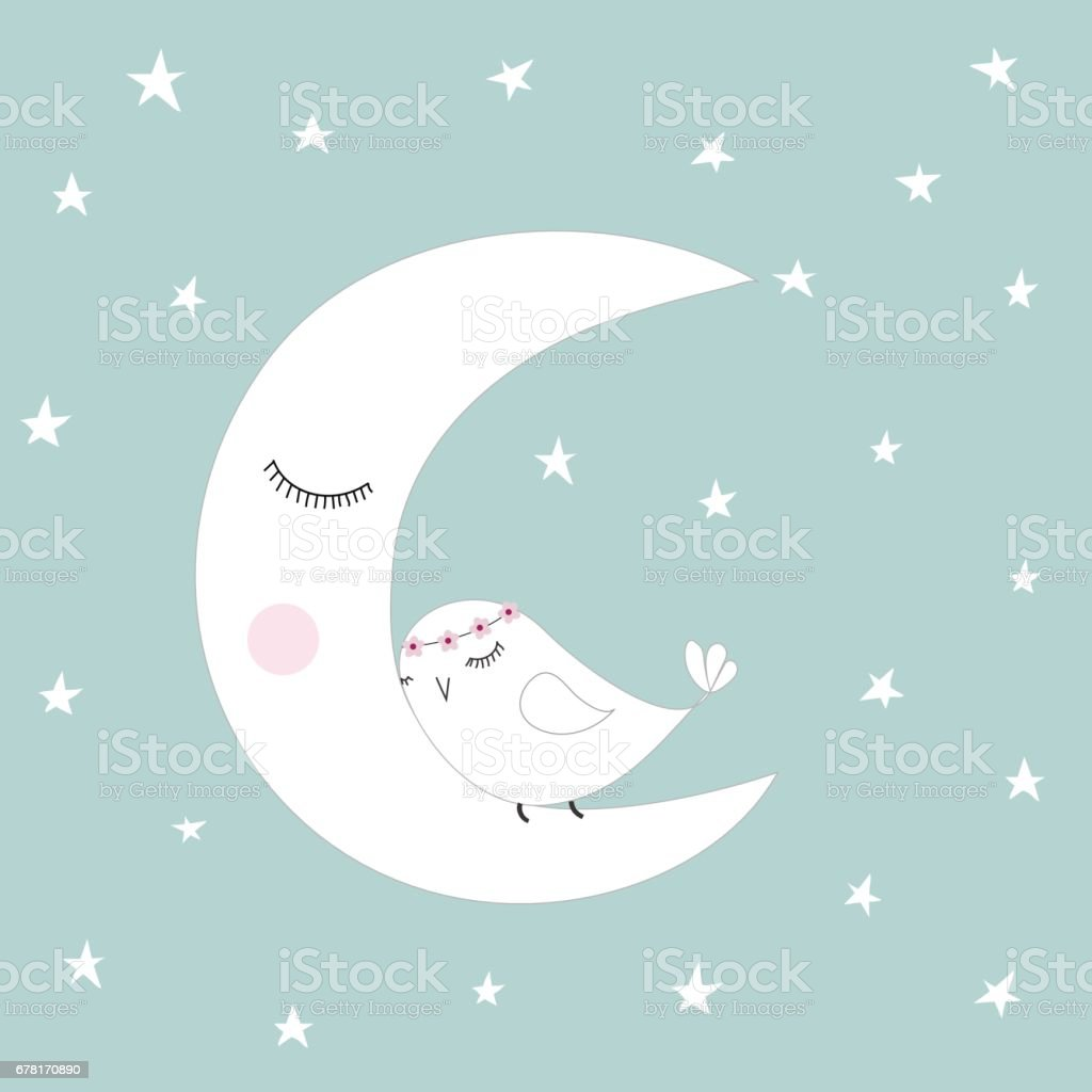 Sleeping half moon white cute bird blue night sky stars kids illustration room decoration vector art illustration