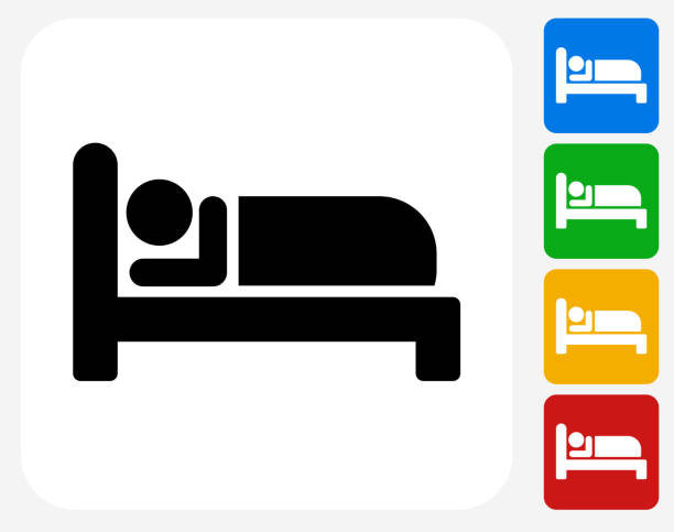 sleeping icon flat graphic design - bed stock illustrations