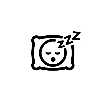 Sleeping icon. Pillow. Sleep. An image of a person having a dreamful slumber in bed on a pillow with some sleeping sound. Rest, relaxation, restoration. Vector on isolated white background. EPS 10