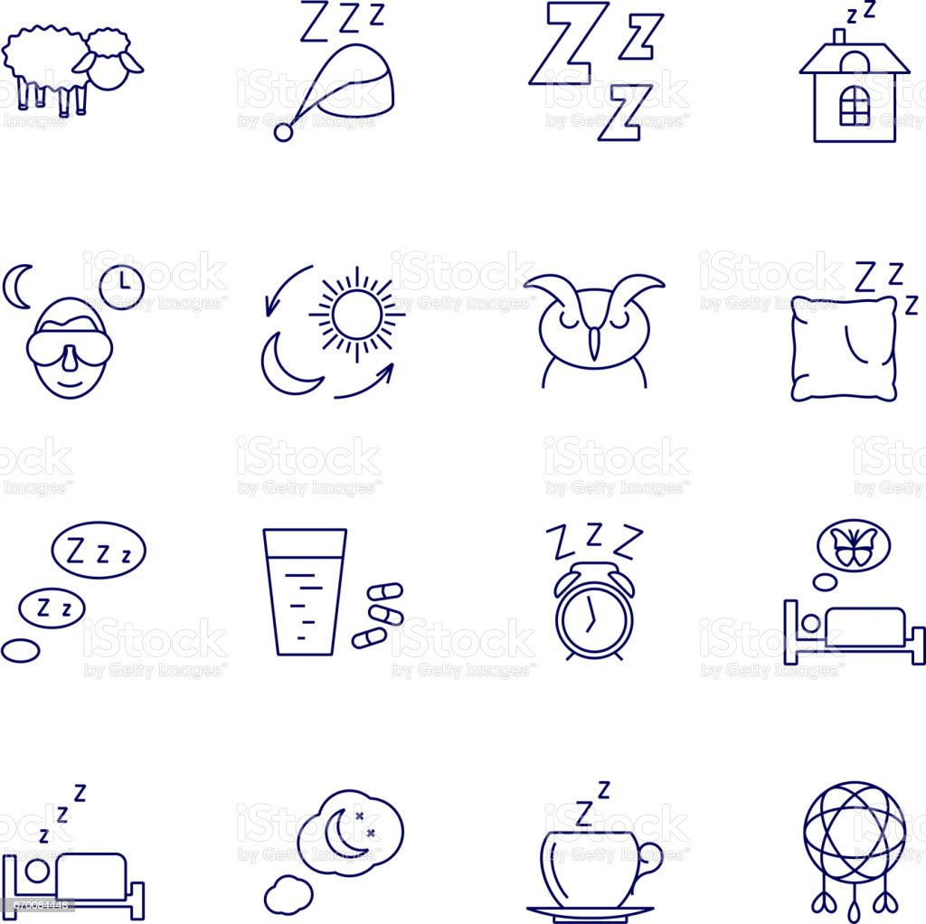 Sleeping icons isolated on white background. Relax and night rest vector signs vector art illustration
