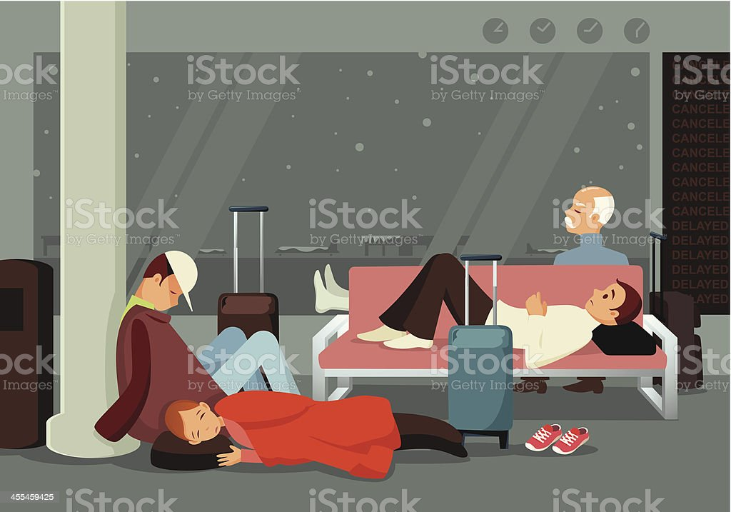 Sleeping In the Airport vector art illustration