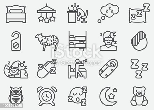 Sleeping Line Icons
