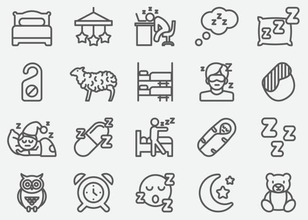 stockillustraties, clipart, cartoons en iconen met slapende lijn pictogrammen - uitgeput