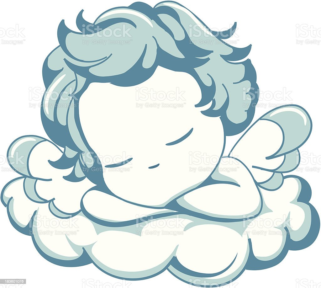 sleeping litle Angel vector art illustration