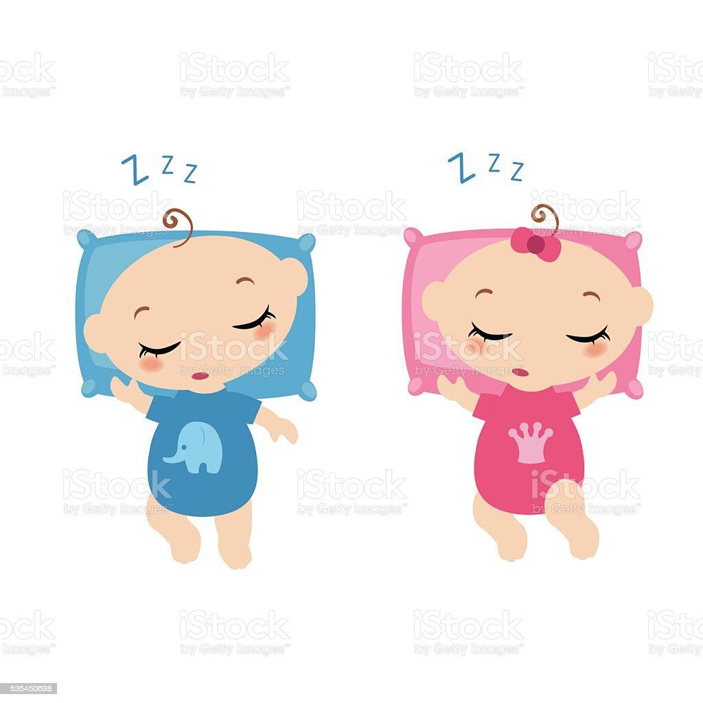 Sleeping little childrens. vector art illustration
