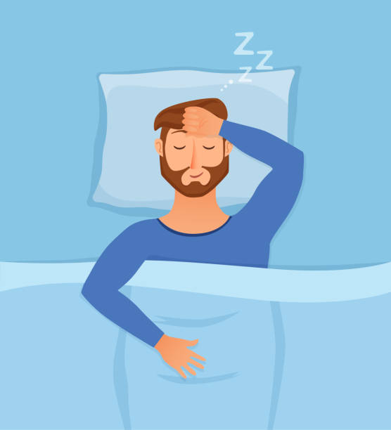 Sleeping man Sleeping man face cartoon character happy guy have a sweet dream. Person with closed eyes in darkness night lying on bed, pillow, blanket. Resting male napping, tired, sound zzz vector illustration man sleeping stock illustrations