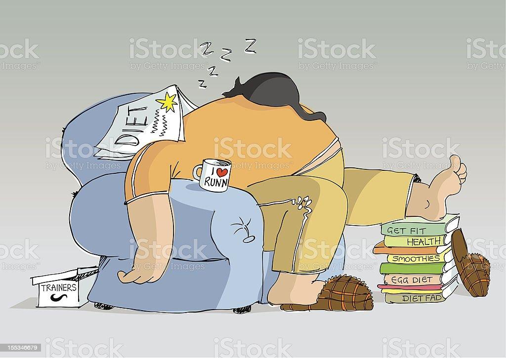 Sleeping man vector art illustration