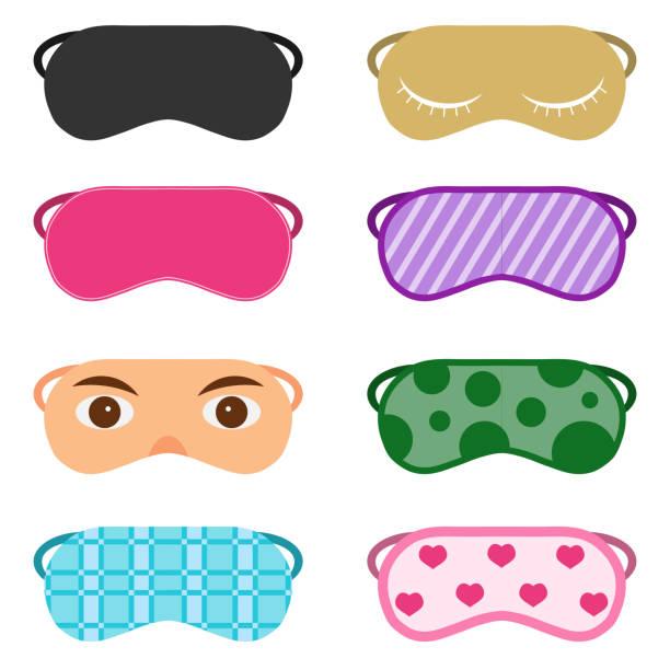 Ilustración de Vector diseño de máscara para dormir. Del sueño conjunto de máscara aislado en blanco. Ilustración de dibujos animados de un antifaz para dormir. - ilustración de arte vectorial