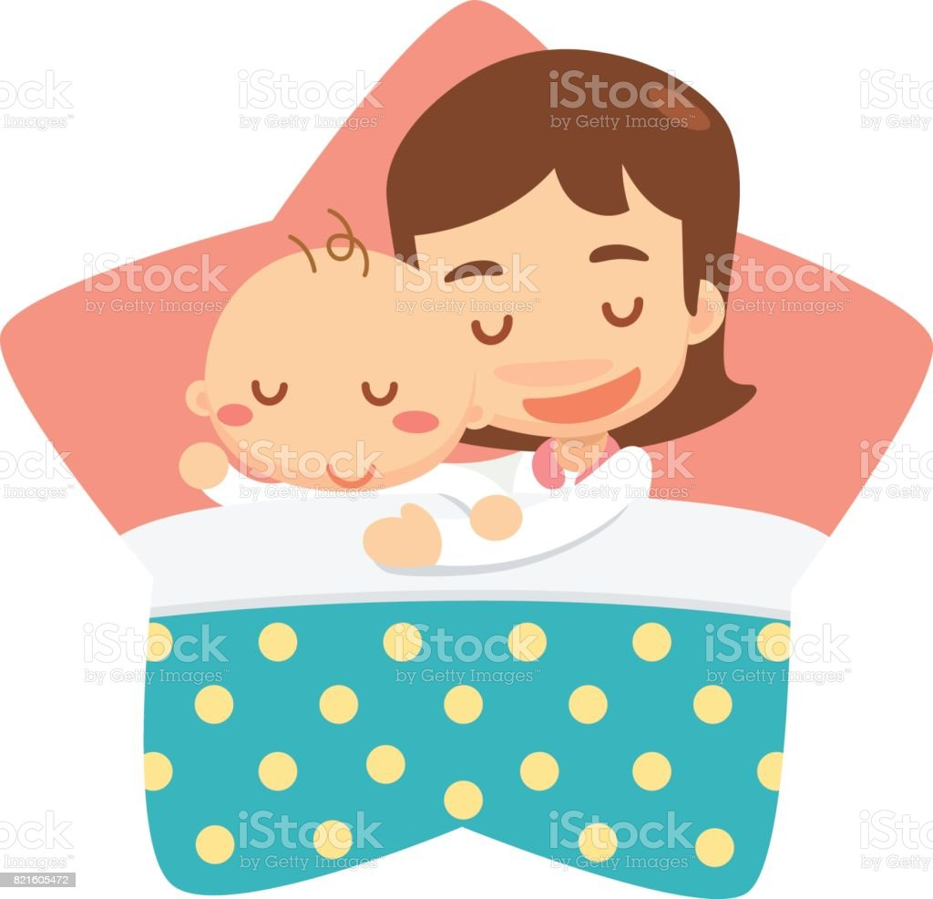 Sleeping mom and baby vector art illustration