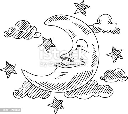 Line drawing of Sleeping Moon. Elements are grouped.contains eps10 and high resolution jpeg.