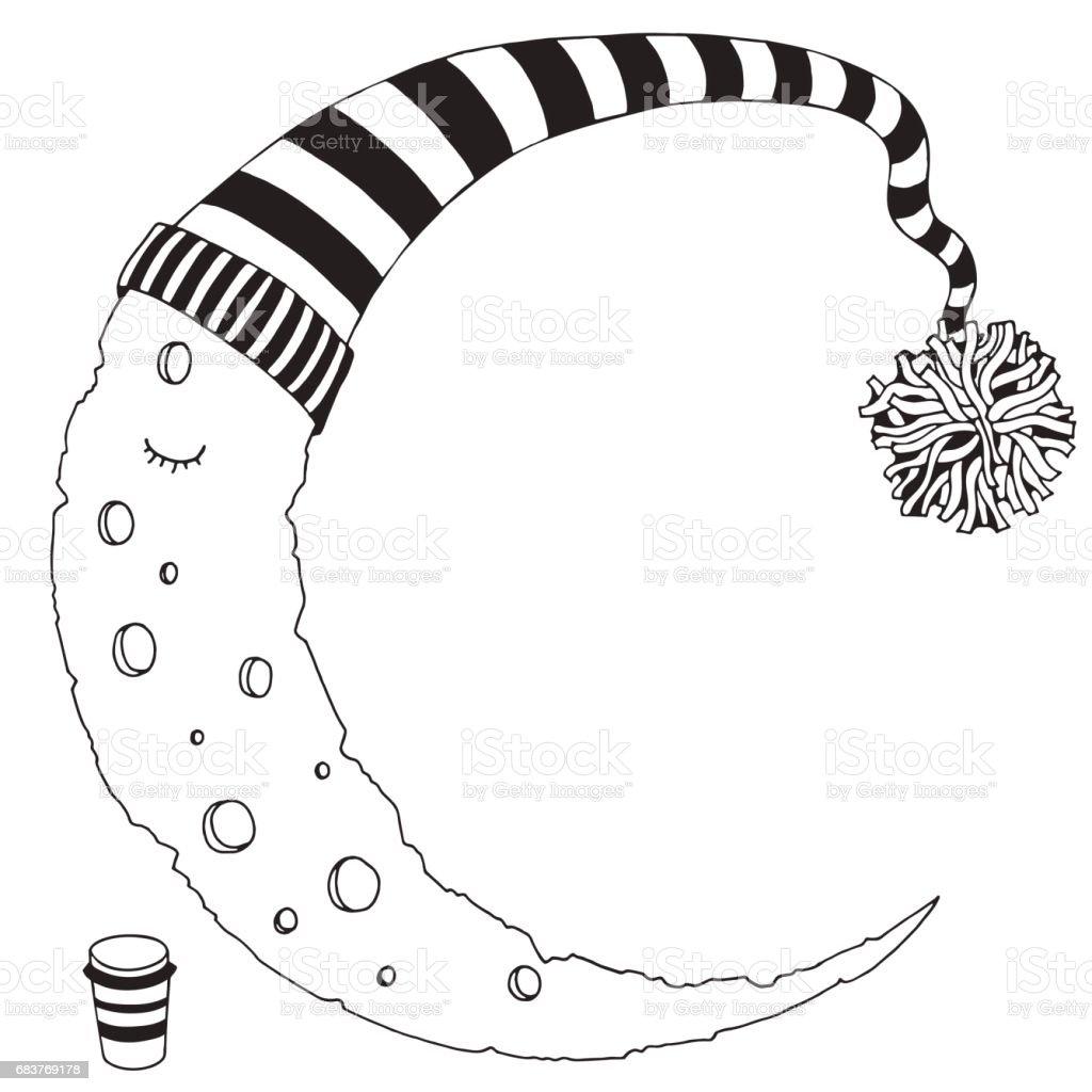 Ilustración De Luna Durmiendo En Un Sombrero De Rayas Blanco Y Negro