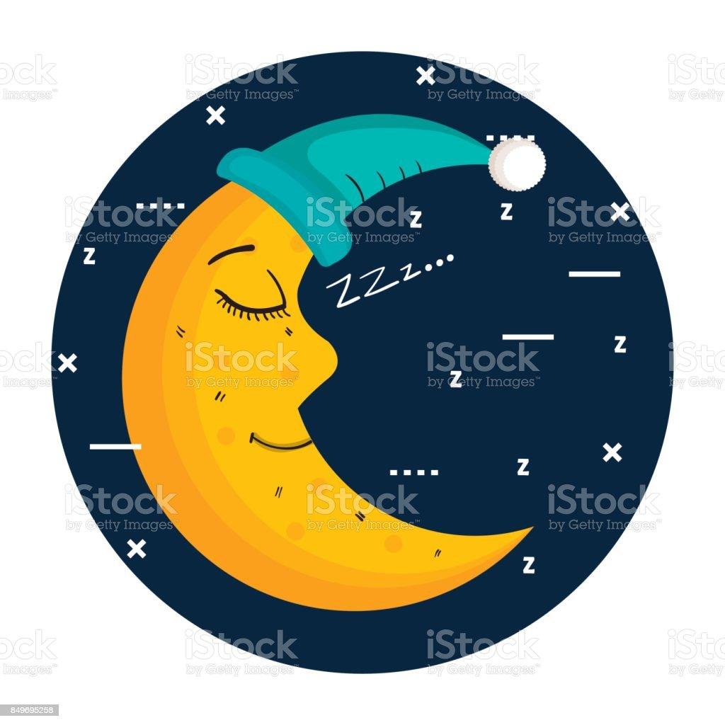 coucher de lune en bonnet de nuit isolé sur fond bleu - Illustration vectorielle