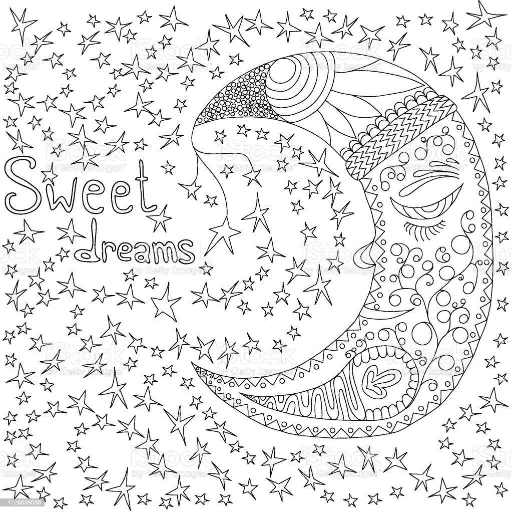 Ilustración De Noche De Luna Con Estrellas Líneas Doodle