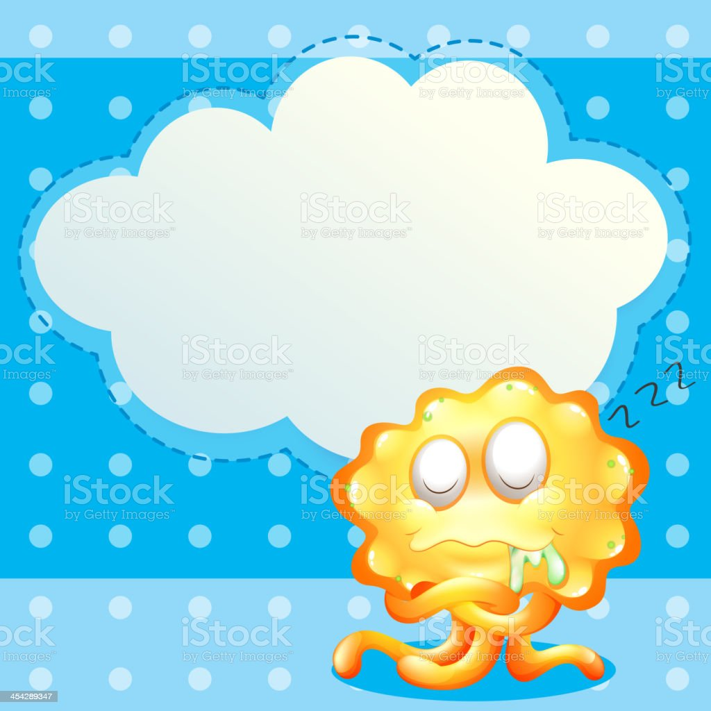 sleeping orange monster in front of the empty cloud template royalty-free stock vector art