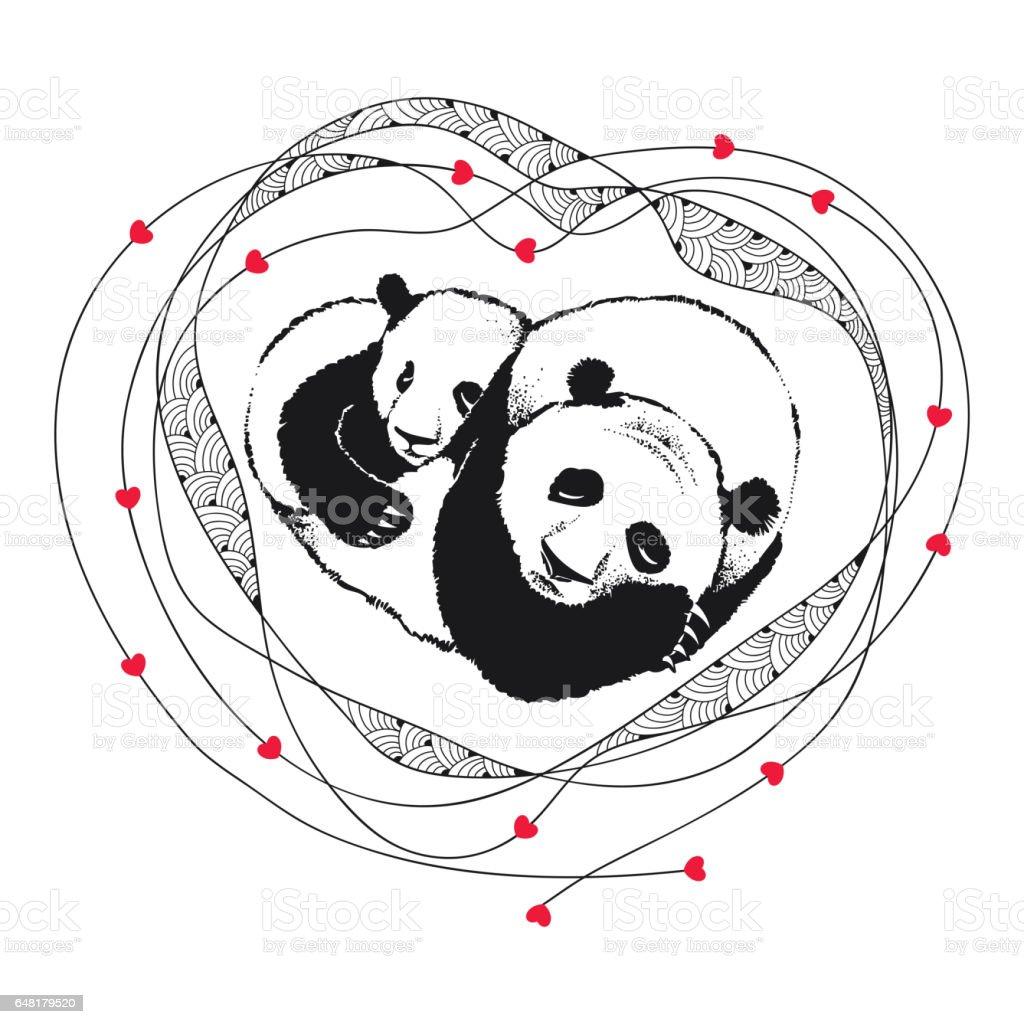 Ilustración de Panda Durmiendo Pareja De Enamorados Con El Marco ...