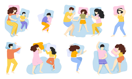 Sleeping people. Man, woman and child sleep pose, male and female characters healthy night sleep in bed. People sleeping poses vector illustration set