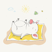 Lovely cute piggy sunbathes lying on the bedspread. Sleeping pig with butterfly, hand-drawn. Summer series of children's card with cartoon style animal. Easy vector illustration