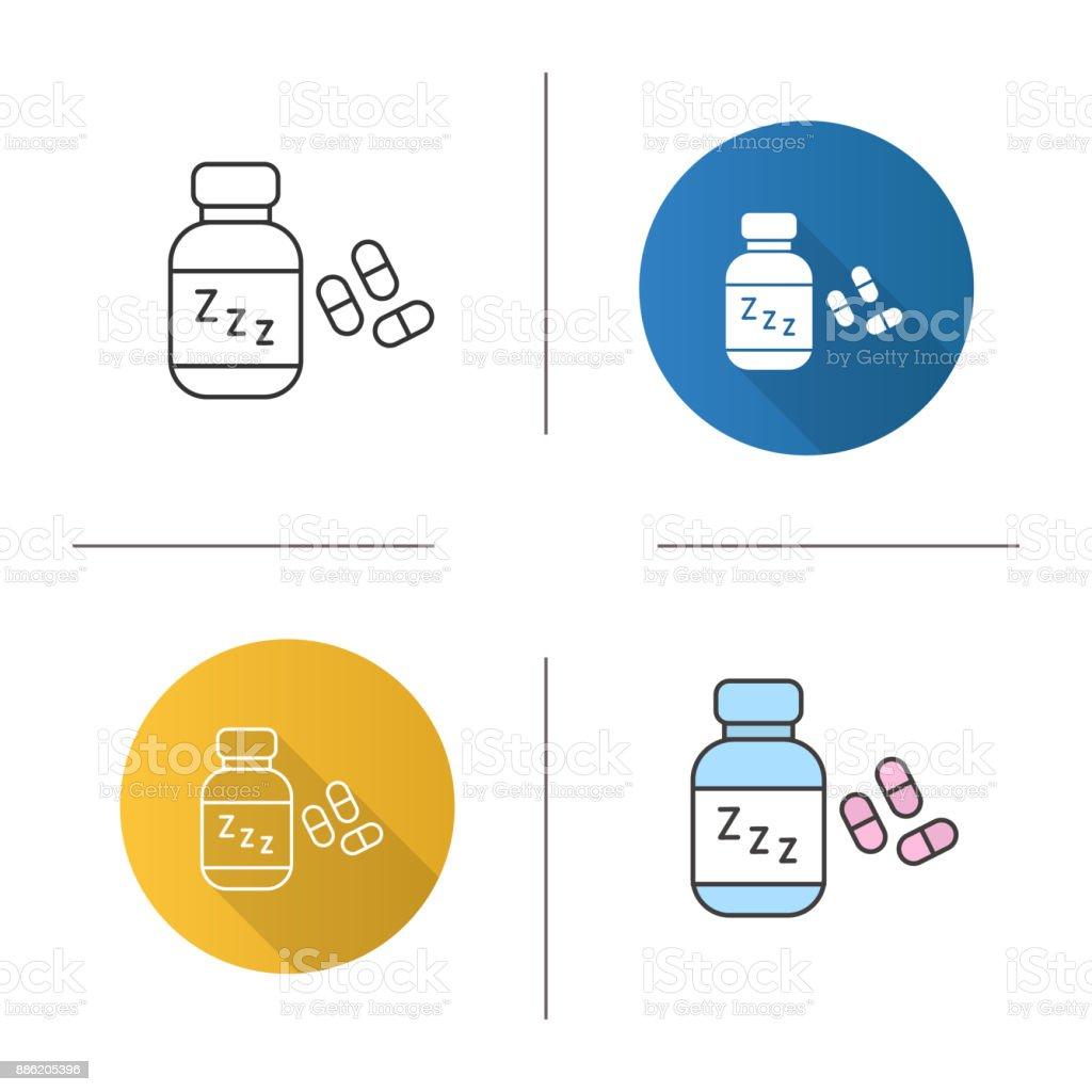 Icono de pastillas para dormir - ilustración de arte vectorial