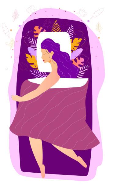 bildbanksillustrationer, clip art samt tecknat material och ikoner med sovande vacker kvinna är i sängen under filt på natten. sweet dreams concept med blommig, lämnar bakgrunds vektor illustration i trendig tecknad stil. avslappning, lugn sovande pose - cosy pillows mother child