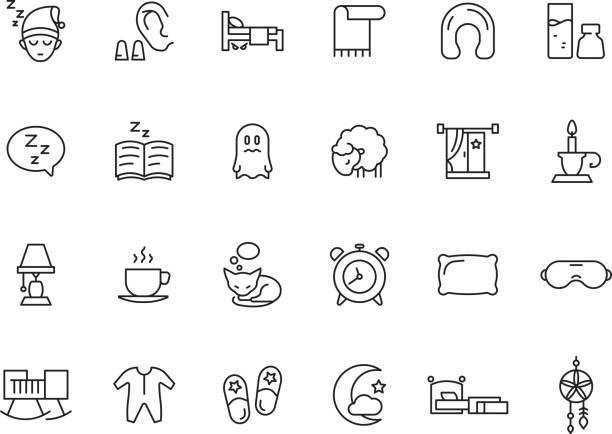 ilustraciones, imágenes clip art, dibujos animados e iconos de stock de símbolos durmientes. relajar descanso iconos simples iconos de la cama reloj reloj de peluche oso nubes vector sueño fotos colección - comfortable