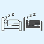 Sleeping time line and solid icon. Person sleep on bed. Horeca vector design concept, outline style pictogram on white background, use for web and app. Eps 10