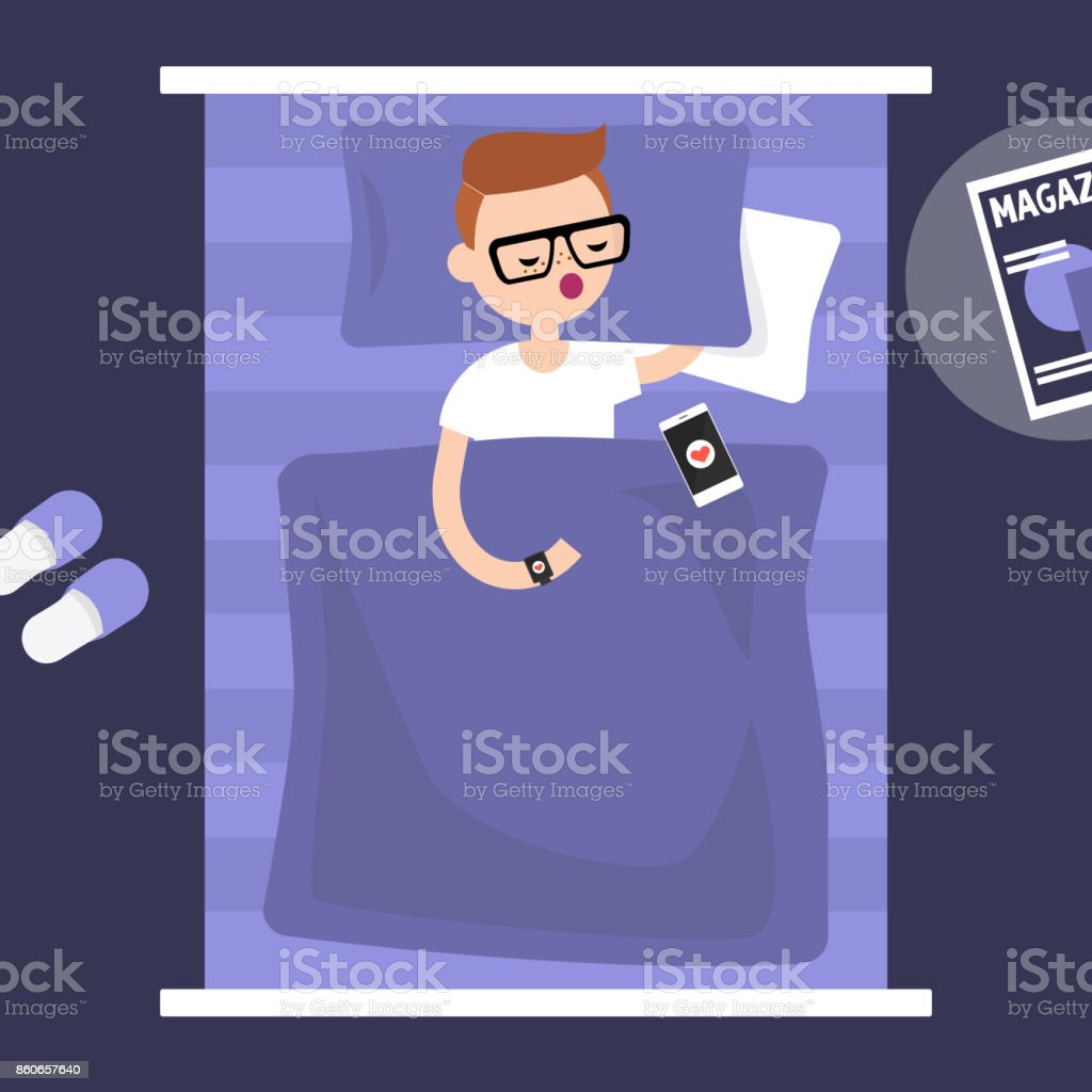 Sleeping tracker. Young character wearing a wearable gadget in bed to control the quality of sleep. Flat editable vector illustration, clip art vector art illustration