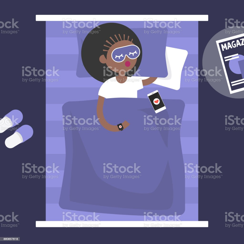 Sleeping tracker. Young female character wearing a wearable gadget in bed to control the quality of sleep. Flat editable vector illustration, clip art vector art illustration