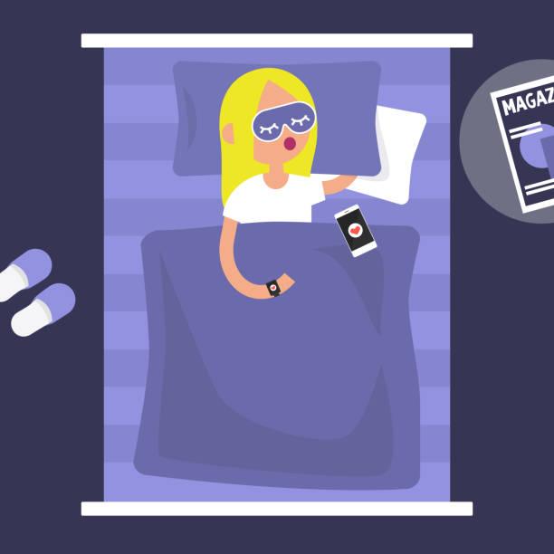 トラッカーを眠っています。若い女性をベッドの睡眠の質を制御するウェアラブル ガジェットを着たキャラクター。フラット編集可能なベクトル イラスト、クリップアート - スマホ ベッド点のイラスト素材/クリップアート素材/マンガ素材/アイコン素材